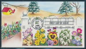 #3025-3029 32c FLOWERS STR/5 ON FDC HANDPAINTED CACHET BY HAM BV994