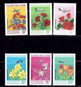 Gabon C109-11 MNH 1971 Flowers and Planes 6 values    (ap2035)