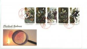 Great Britain 1993 FDC Sherlock Holmes   Sc# 1519a se tenant strip