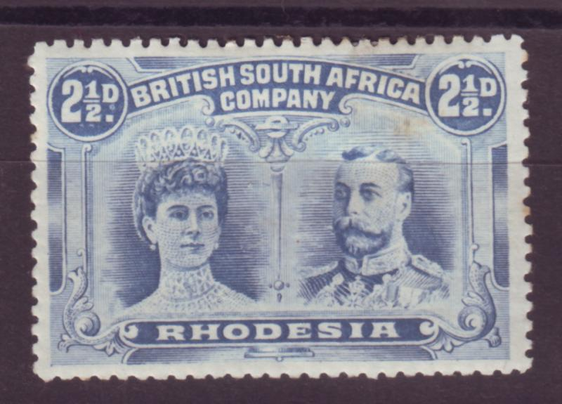 J17091 JLstamps 1910 rhodesia mh #104 king and queen