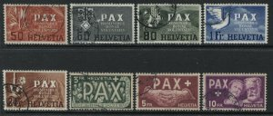 Switzerland scarce PAX complete set to 10 francs used