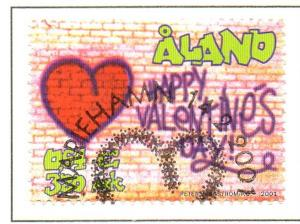 Aland Finland Sc 186 2001 Valentines Day stamp used