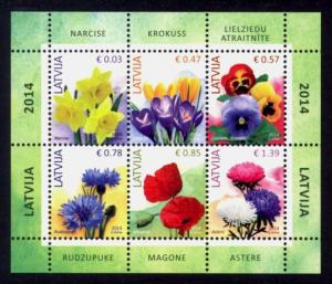 Latvia Sc# 855a MNH Flowers Definitives 2014 (Part 1) (S/S)