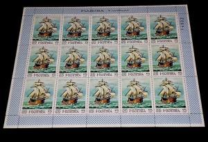 1968, FUJEIRA, SAILING SHIPS, WAR SHIPS, SHEET OF 15, LOT #5, MNH, NICE! LQQK!