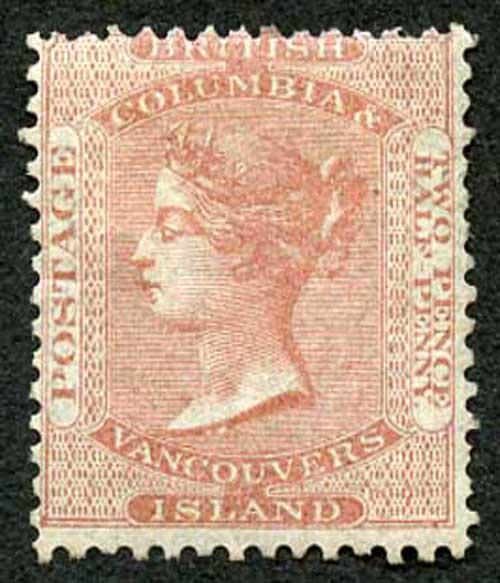 British Columbia and Vancouver Island SG3 2 1/2d Pale Reddish Rose M/Mint