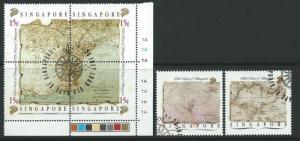 SINGAPORE SG596/601 1989 MAPS FINE USED