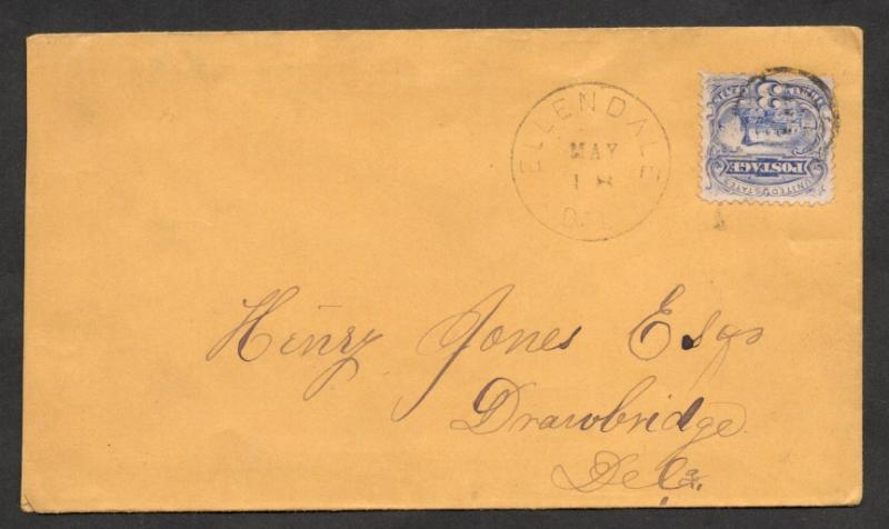 US#114 From Ellendale, Del. on Cover to Henry Jones