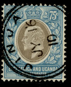 EAST AFRICA and UGANDA EDVII SG42, 75c grey and pale blue, FU. Cat £45. CDS