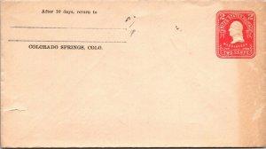 Unused postal stationery 2¢ early 20th c printed return Colorado Springs CO