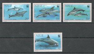 L1133 NIUE WWF FISH & MARINE LIFE DOLPHINS 1SET MNH