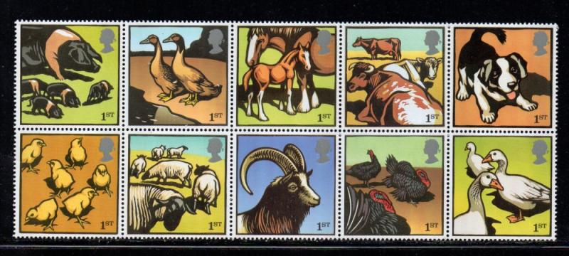 Great Britain Sc 2260a 2005 Farm Animals stamp block of 10 mint NH