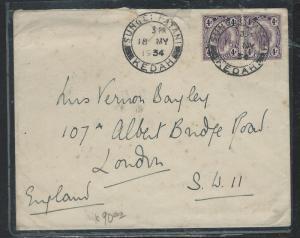 MALAYA KEDAH (PP2809B) 1934 4C LEAF PR FROM SUNGEI PATANAI TO ENGAND