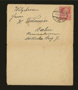 Austria Postmarked 1911 10 Heller Red Karten-Brief Postal Card Used
