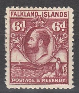 FALKLAND ISLANDS 1929 KGV PENGUIN AND WHALE 6D REDDISH PURPLE