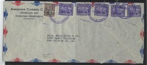 VENEZUELA (P2912B) 1947 50CX5+15C SURCH COVER A/M TO USA