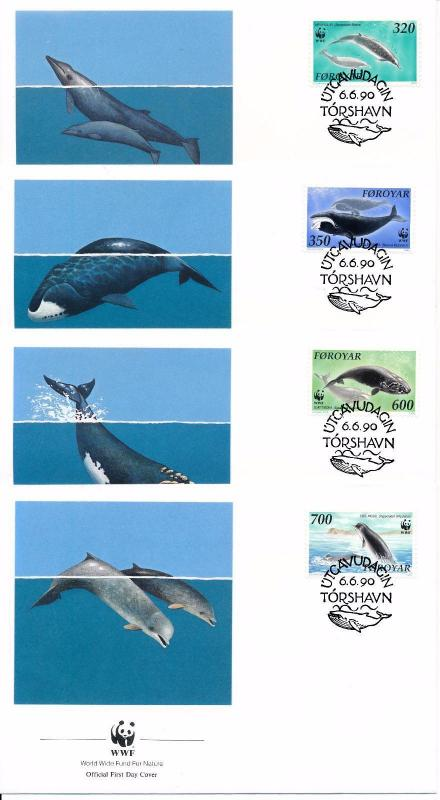 [53938] Faroe Islands 1990 Marine life WWF Whales  FDC 4 covers