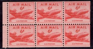 US Stamp #C39a 6c Booklet Pane of 6 Wet Printing Mint NH SCV $12.00