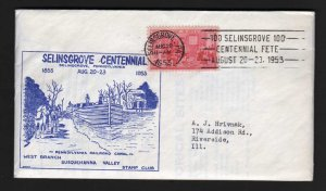 PA Centennial Selinsgrove Pennyslvania Railroad Canal with large Insert 1953