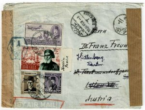 Egypt 1949 airmail cover to AUSTRIA, censored twice