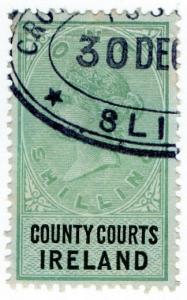 (I.B) QV Revenue : County Courts Ireland 1/- (1882)
