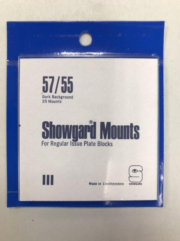 57/55 Showgard Mounts Dark Back - 25 Mounts