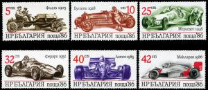 Bulgaria MNH 3223-8 Classic Race Cars SCV 3.10