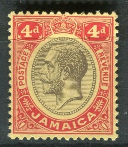 JAMAICA; 1912 early GV issue fine Mint hinged 4d. value