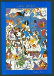Faroe Islands.  Christmas Seal 1988 Full Sheet  Unfolded