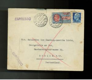 1930 Express Mail Cover Italy to Germany Hamburg America Line # E 8