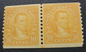 US Sc. #603 Coil Line Pair – Mint Hinged