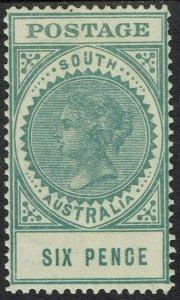 SOUTH AUSTRALIA 1904 QV THICK POSTAGE 6D WMK CROWN/SA
