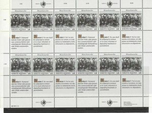 United Nations 1989 Human Rights Mint Never Hinged Stamps Sheet R18438