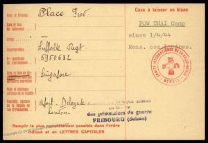 UK 1943 Singapore Japanese POW THAI Camp Red Cross Cover Catholic Switzerl 89603
