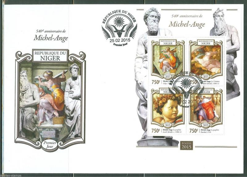 NIGER  2015  540th  BIRTH  ANNIVERSARY OF MICHELANGHELO  SHEET FIRST DAY COVER