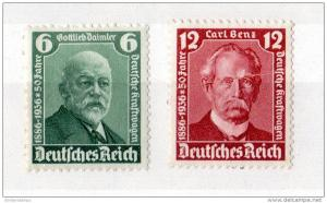 Germany 1936 50th Anniversary of Automobile Mint MH Set X669