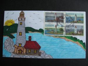 CANADA SC 1032-35 Light houses on handmade, colored (Artist KR) FDC!