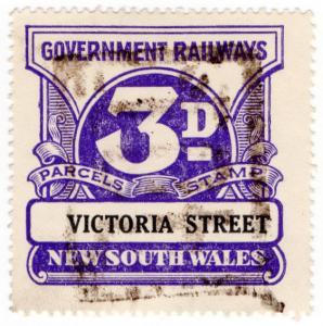 (I.B) Australia - NSW Railways : Parcel Stamp 3d (Victoria Street)