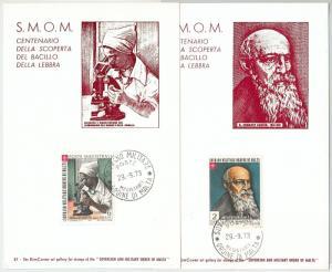 63704 -  SMOM - POSTAL HISTORY: Set of 2  MAXIMUM CARD 1973 -  MEDICINE Leprosy