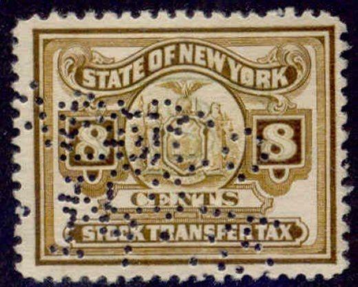 New York State Revenue Stamp 8c Stock Transfer Tax # ST130