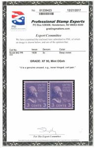 US #842 GRADED CERT, XF mint never hinged PAIR, a super looking pair, VERY NI...