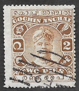 India-Cochin Scott #23 2p Sri Rama Varma II (1918) Used