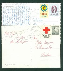 Sweden. 2 Postcard With Poster Stamp 1963-Red Cross. 1971 PITA 350 Year. Used.