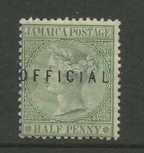 JAMAICA 1890/1 Sg O1, 1/2d Green Official (type 1) Av. M/Mint with gum. {B6-29}