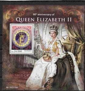 Sierra Leone MNH S/S Queen Elizabeth II 90th Birthday 2016