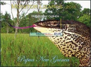 Papua New Guinea. 2011. Monitor Lizards (MNH OG) Souvenir Sheet