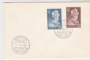Iceland 1960 Reykjavik Cancels  FDC Hiking Man +Child&Dog Stamps Cover Ref 26539
