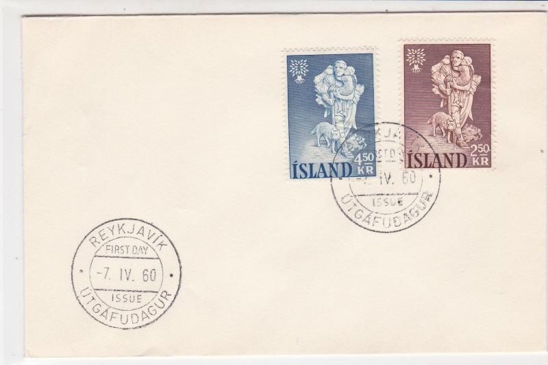 Iceland 1960 Reykjavik Cancels  FDC Hiking Man +Child&Dog Stamps Cover Ref 26539