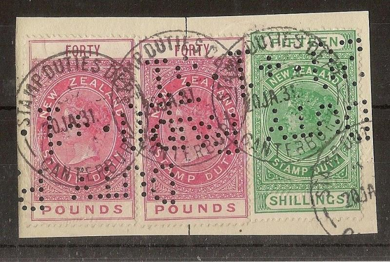 New Zealand - £40 (2) + 15/- on Piece - Punctured 'Duty Paid' - 20/01/31  Cancel
