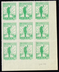 SPAIN STAMP SPAIN CIVIL WAR STAMPS LUGO 10c GREEN MNH BLK OF 9