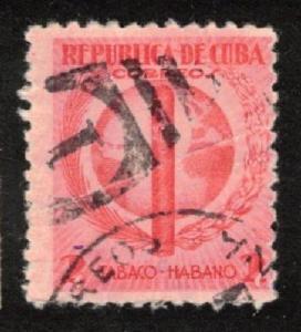 CUBA TABACO HABANO 1939 2c USED SC #357 TOBACCO INDUSTRY
